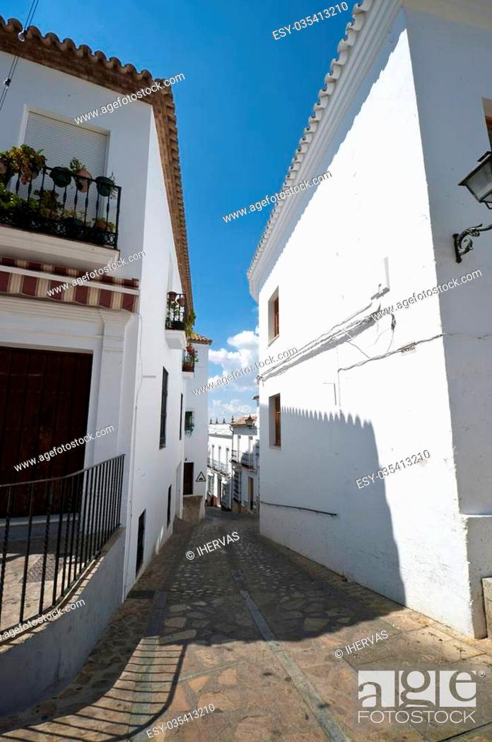 Stock Photo: Traditional houses in Zahara de la Sierra, Cadiz. This village is part of white towns in southern Spain Andalusia region.