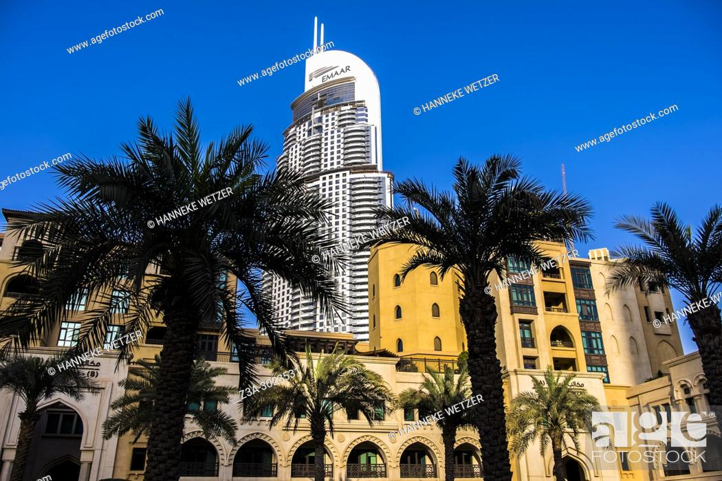 Stock Photo: The Emaar Tower seen from the Souk Al Bahar in Dubai.