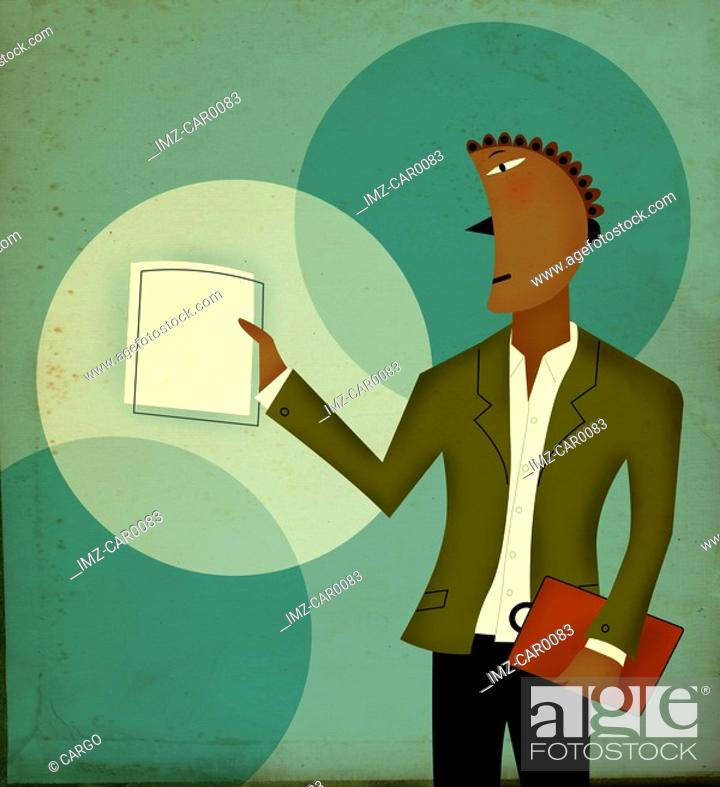 Stock Photo: Businessman holding a paper in one hand, and a clipboard in the other.