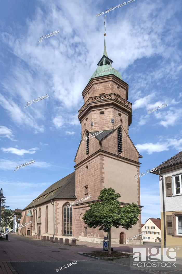 Stock Photo: FREUDENSTADT, GERMANY - September 04 2019: Stadtkirche church in touristic historical town , shot in bright light on september 04 2019 at Freudenstadt.