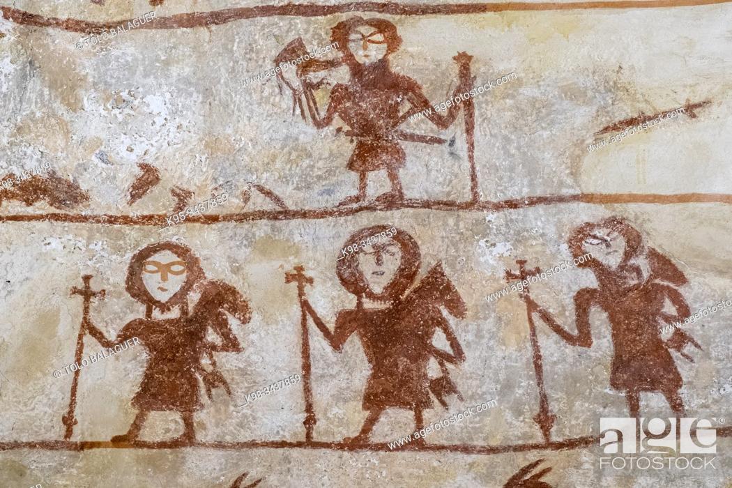 Photo de stock: Pinturas murales , peregrinos, Iglesia de Nuestra Señora de la Asunción , Alaitza, Álava, Spain, Europe.