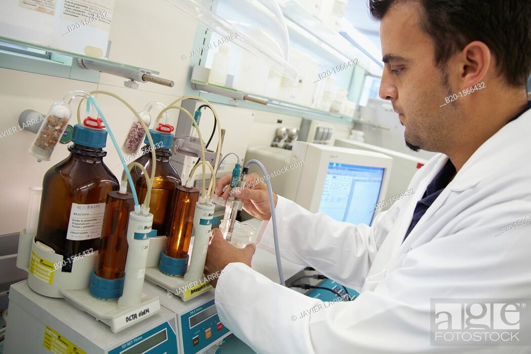 Stock Photo: Potentiometric titration equipment, automatic titrator for the determination of iron, calcium and magnesium  Testing of cement.