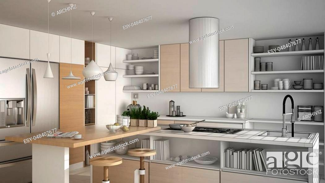 Stock Photo: Unfinished project of modern wooden kitchen with wooden details, close up, island with stools, minimalistic interior design.