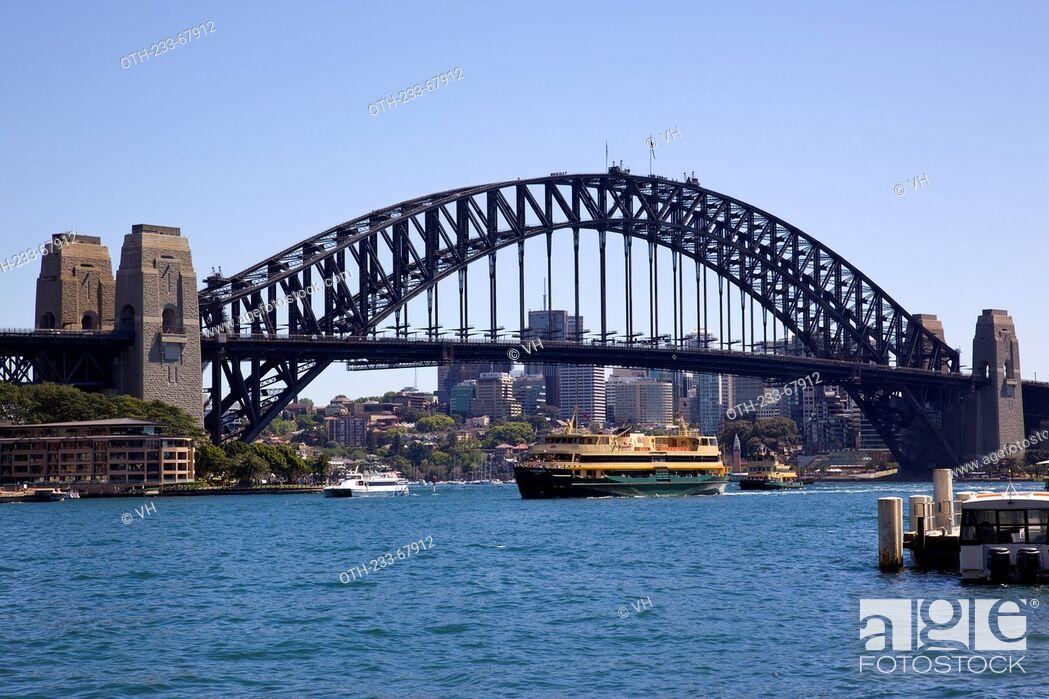 Stock Photo: The Harbour Bridge viewed from Circular Quay, Sydney, Australia.