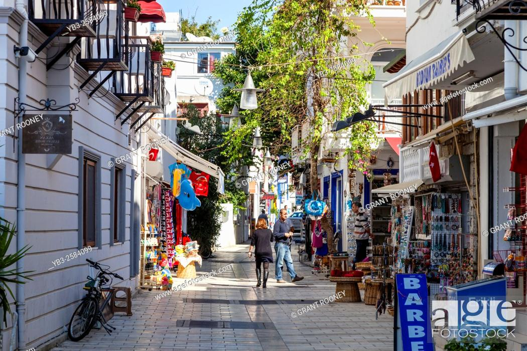 Shops In Bodrum Old Town Mugla Province Turkey Stock