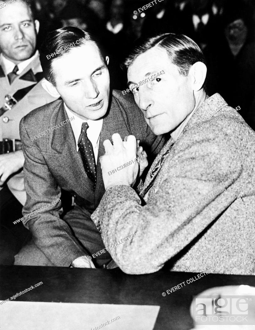 Stock Photo: Bruno Hauptmann with his defense counsel Egbert Rosecrans, Jan. 15 1935. Hunterdon County Courthouse, Flemington, N.J. (CSU-2015-7-447).