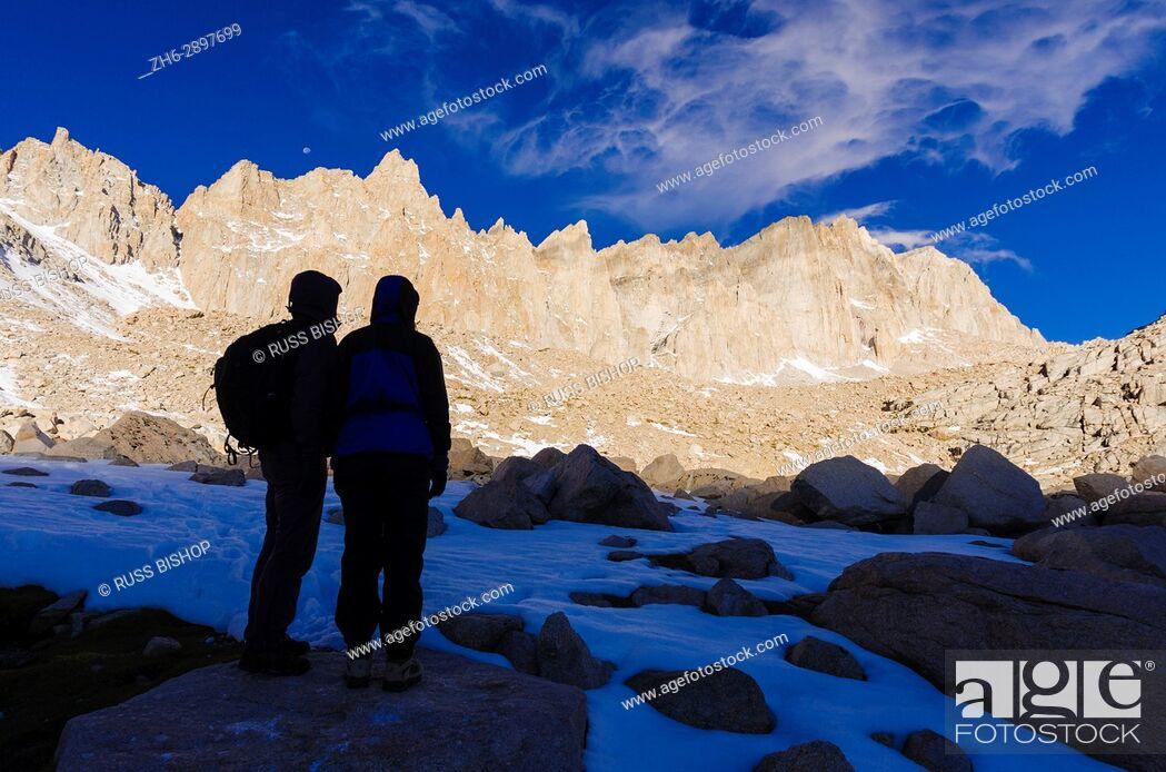 Stock Photo: Hikers on the Mount Whitney trail, John Muir Wilderness, Sierra Nevada Mountains, California USA.