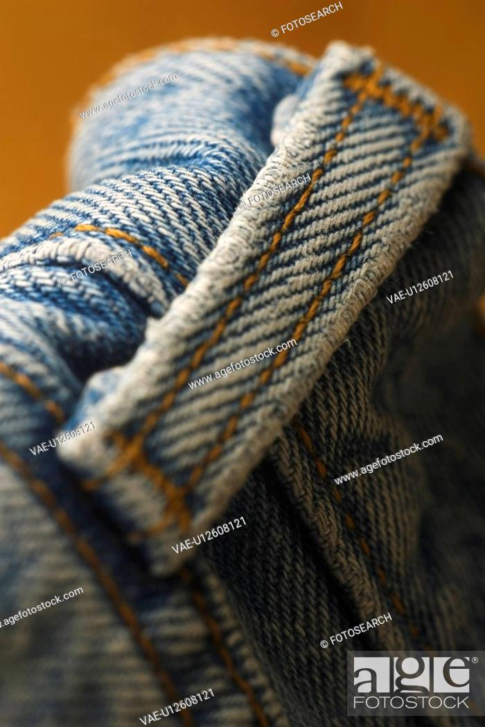 Stock Photo: Blue, Casual Clothing, Close Up, Denim, Fabric.