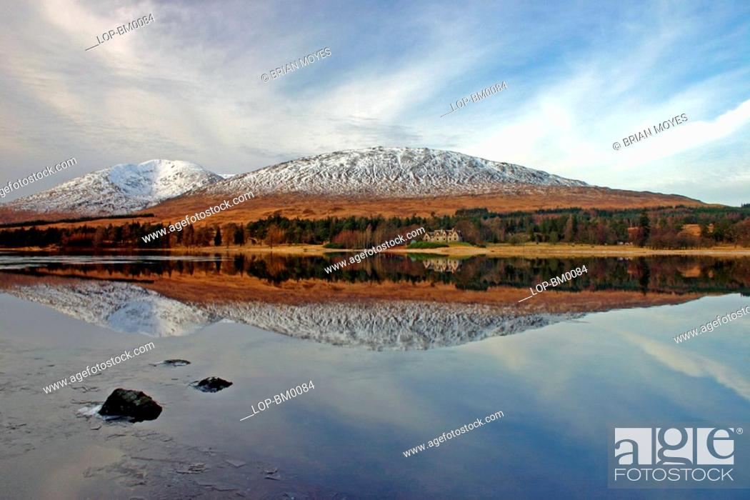 Stock Photo: Scotland, Argyll and Bute, Loch Tulla, Reflections in Loch Tulla.