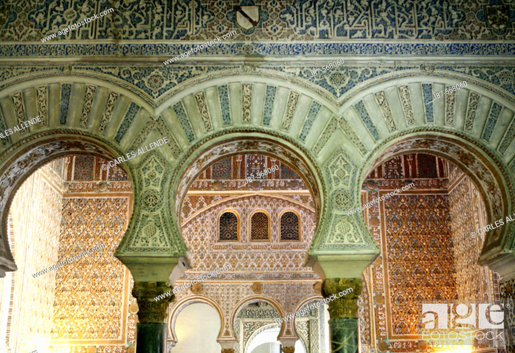 Stock Photo: Arches in the Hall of the Ambassadors, Royal Alcazar of Seville, Andalusia, Spain.