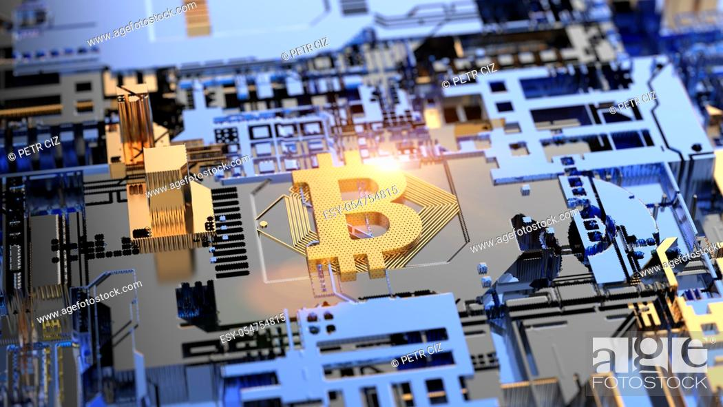 Stock Photo: Bitcoin Cryptocurrency mining on Circuit Board Blockchain.