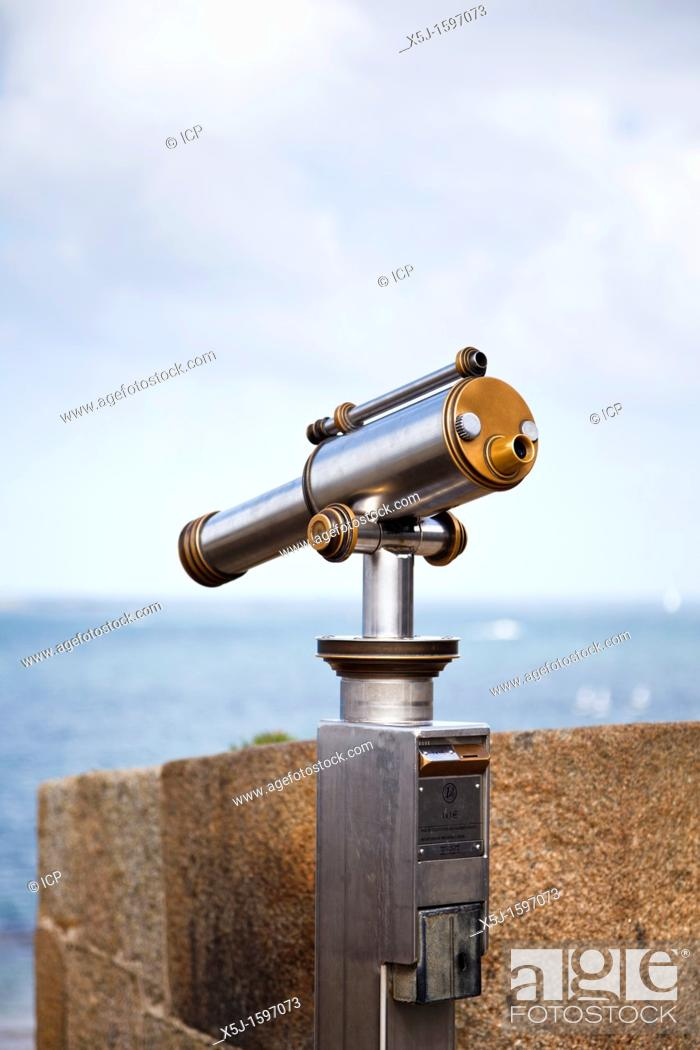 Stock Photo: Telescope overlooking the sea at St Malo, Brittany, France.
