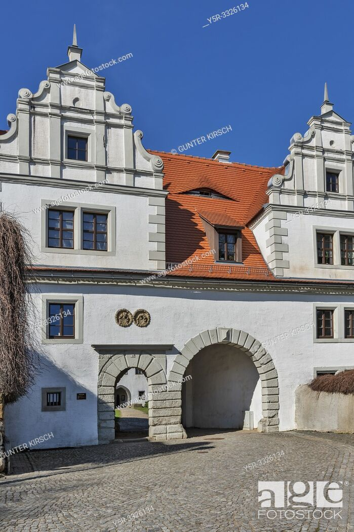 Stock Photo: The Castle Strehla is a castle in the town Strehla, administrative district Meissen, Saxony, Germany, Europe.