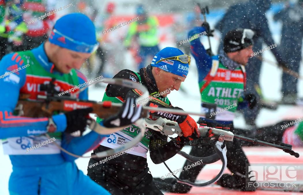Stock Photo: Biathlete Erik Lesser of Germany in action during a training session at the Biathlon World Championships, in the Holmenkollen Ski Arena, Oslo, Norway.