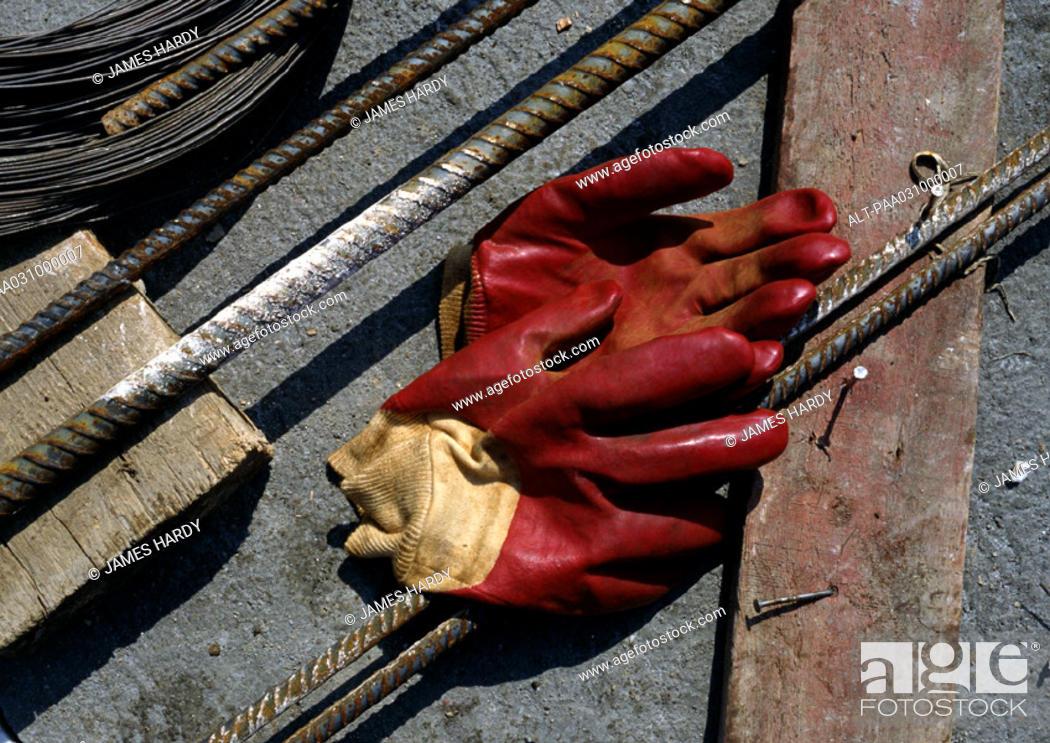 Photo de stock: Rubber gloves on floor.