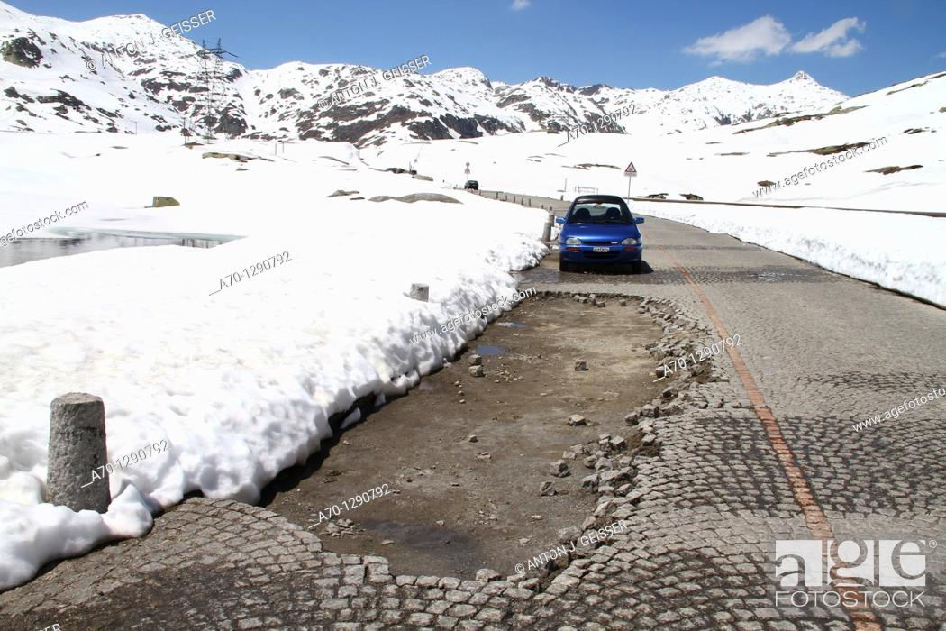 Stock Photo: Road hole, Gotthard Pass, Switzerland.