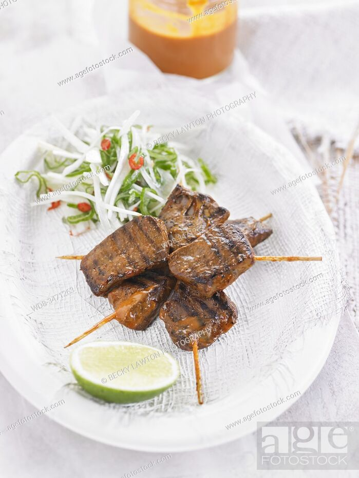 Stock Photo: anticuchos de corazon / Beef Heart Skewers.