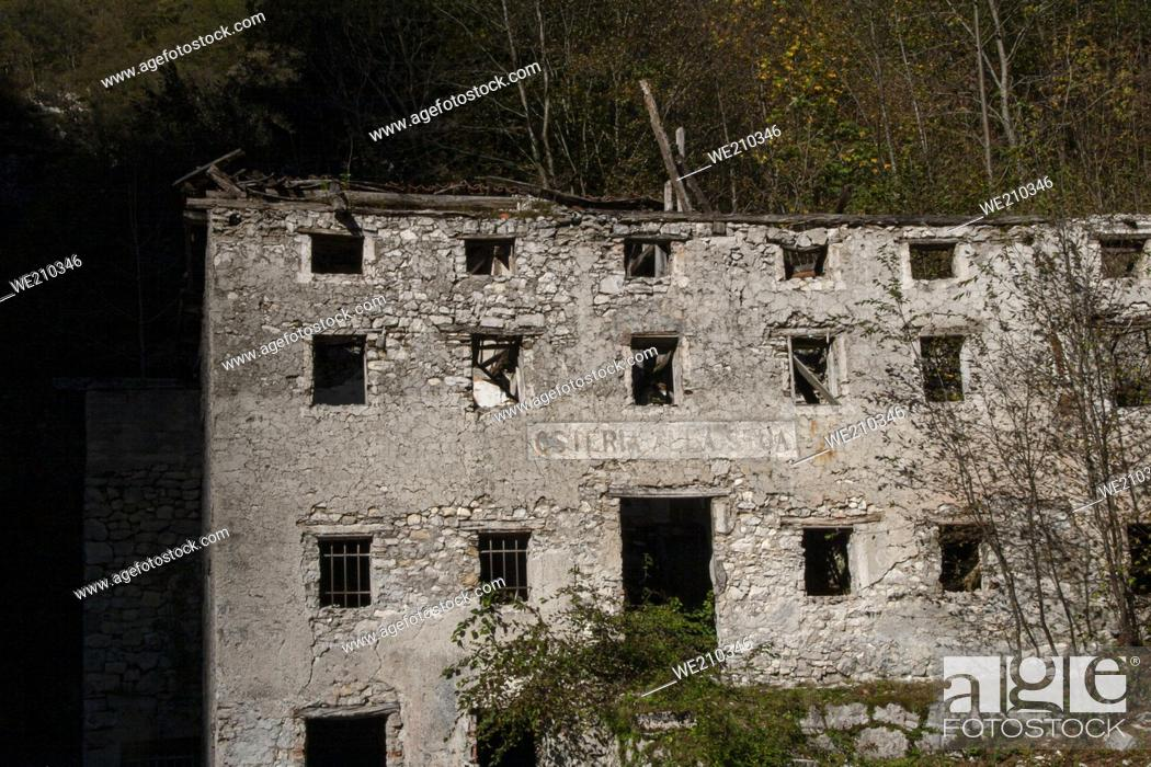 Stock Photo: Ruin abandoned on the dolomites, an old abandone building from exterior.