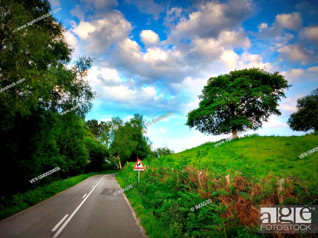 Stock Photo: Local road between Nava and Sariego, Asturias, Spain.