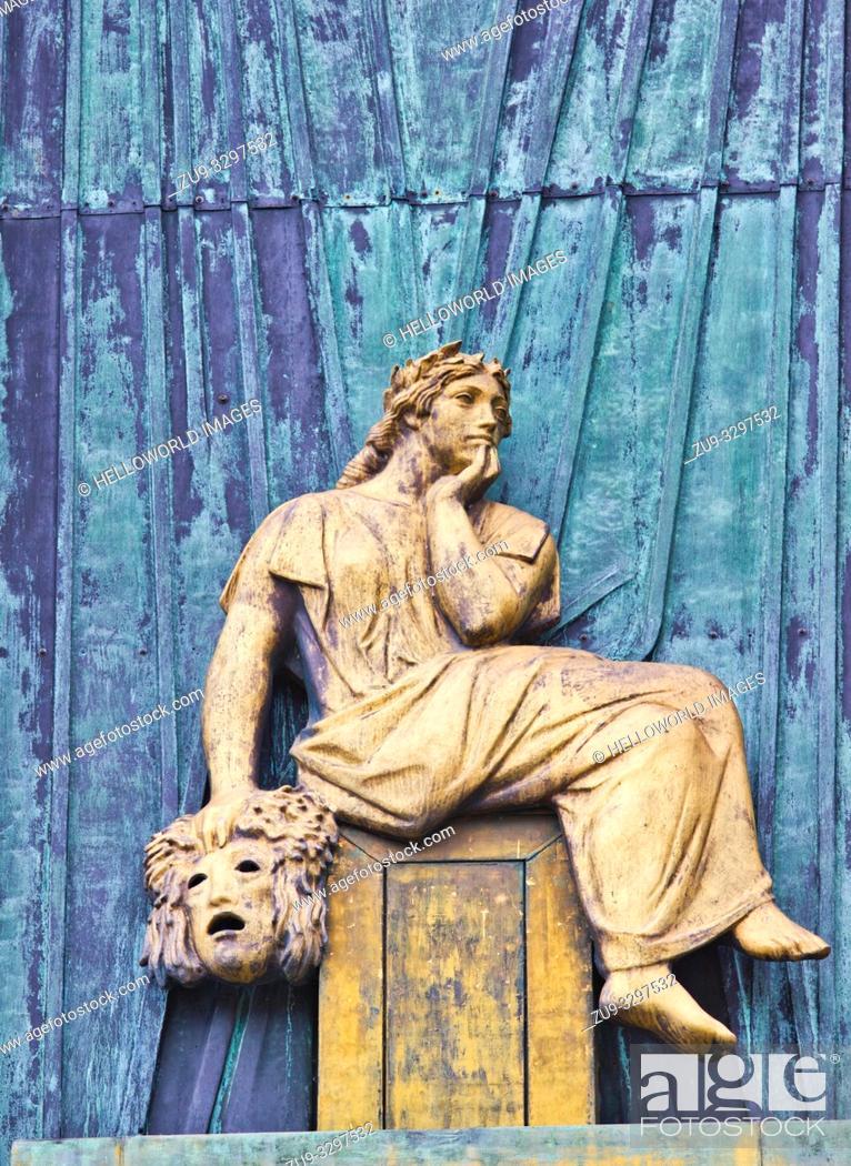 Stock Photo: Façade relief bronze sculpture of the Muse of Comedy, Staerekassen, Royal Danish theatre, Copenhagen, Denmark, Scandinavia.