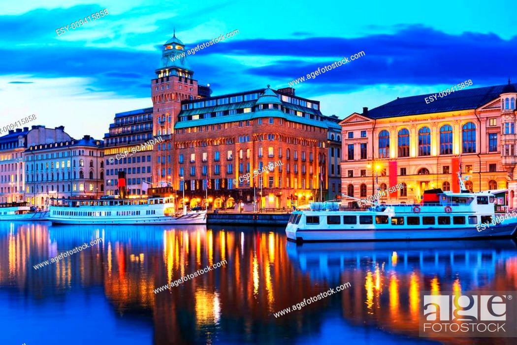 Stock Photo: Evening scenery of Stockholm, Sweden.