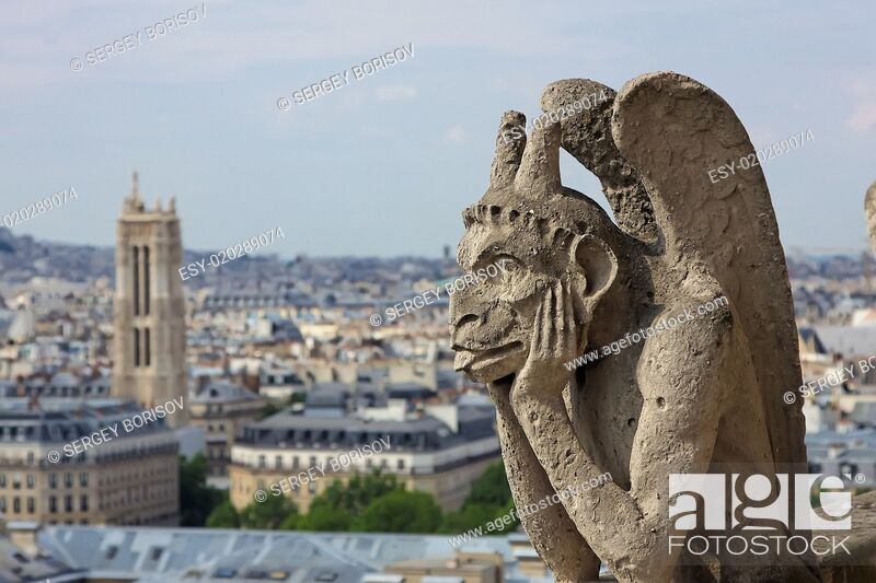 Stock Photo: Chimera on Notre Dame Cathedral.