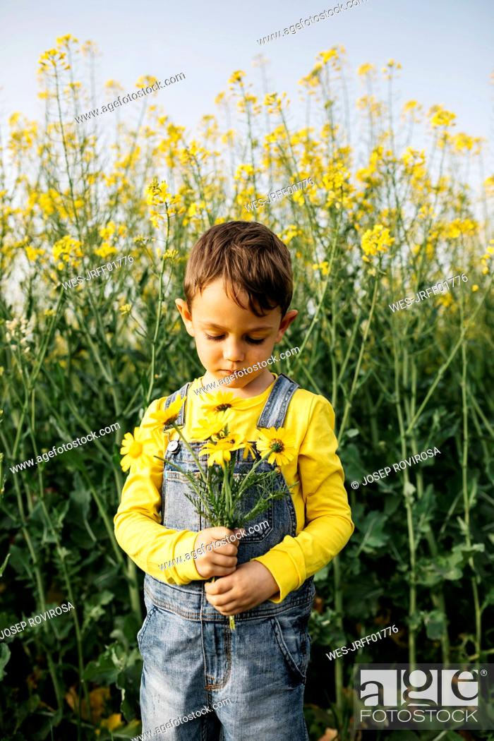 Stock Photo: Portrait of little boy with picked flowers in nature.