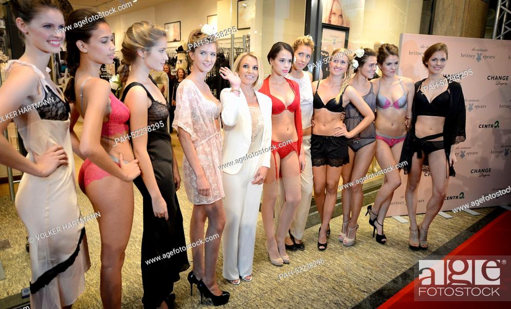 Stock Photo - Britney Spears (R) poses with models wearing her lingerie  collection in the lingerie store