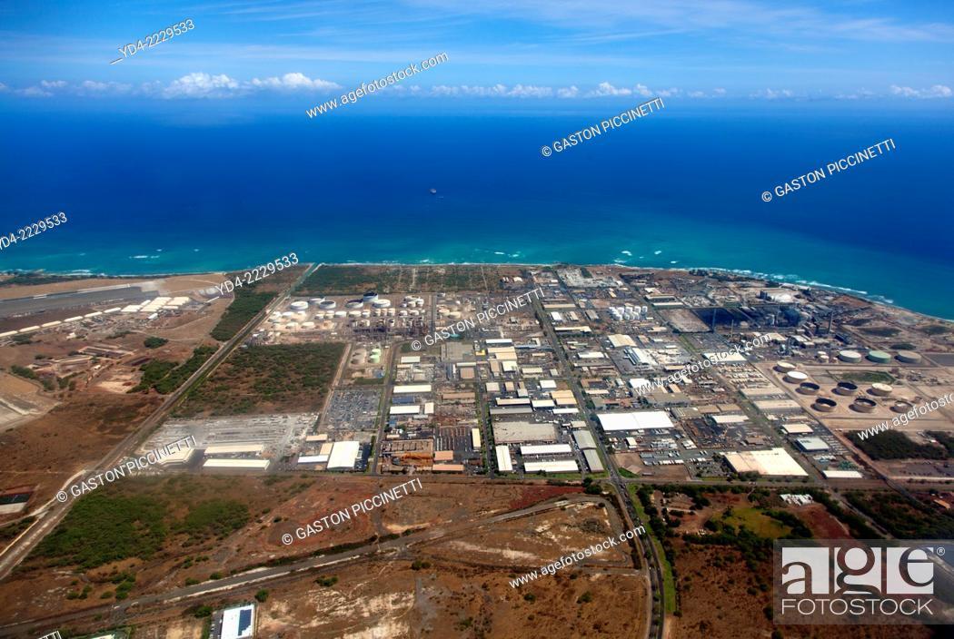 Stock Photo: Aerial View of O`ahu Island, Hawaii, USA.