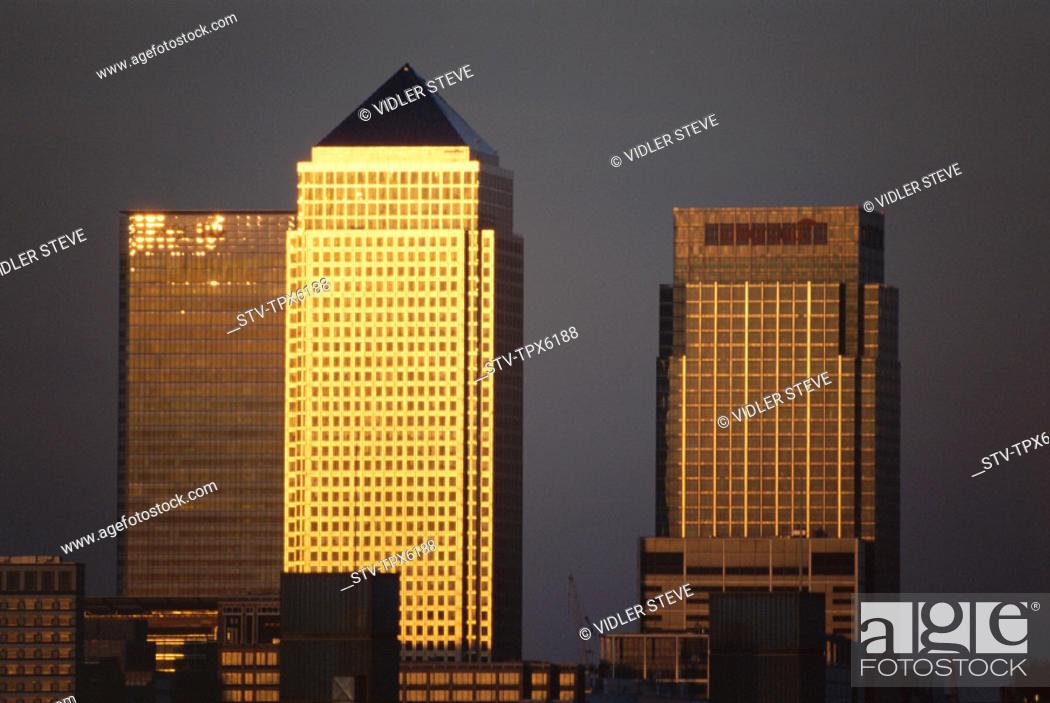 Stock Photo: Canary wharf, Docklands, England, United Kingdom, Great Britain, Holiday, Landmark, London, Skyline, Tourism, Travel, Vacation,.