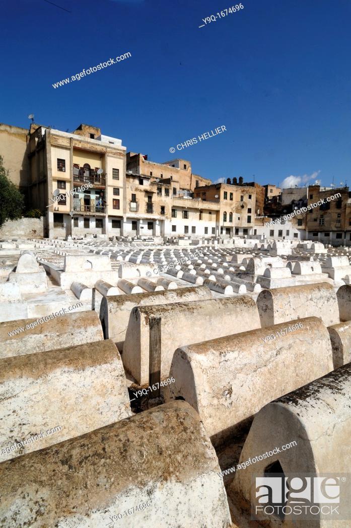 Stock Photo: Jewish Cemetery & Quarter Mellah Fez Morocco.