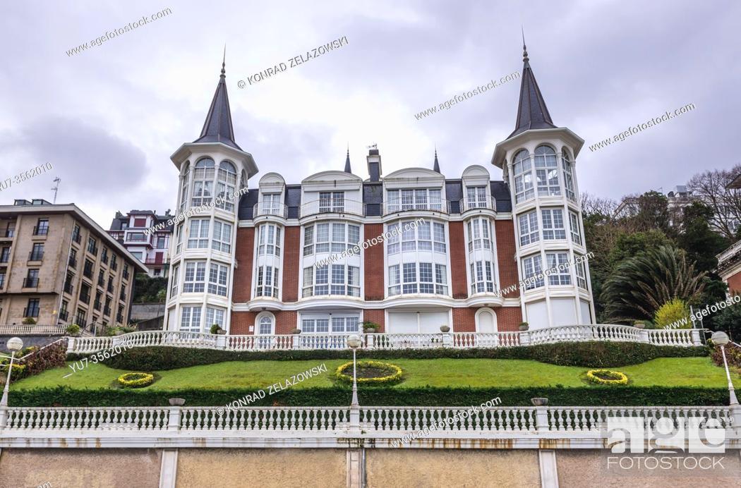Stock Photo: Crown of La Concha Beach Hotel in San Sebastian coastal city located in the Basque Autonomous Community, Spain.