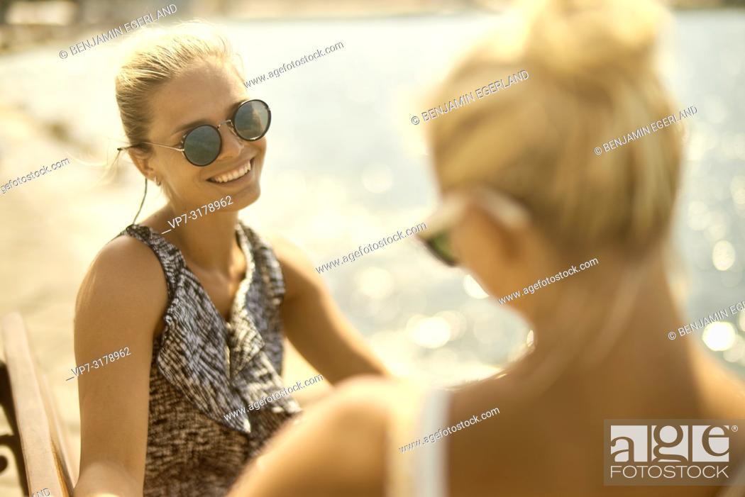 Stock Photo: two women in Chania, Crete, Greece.