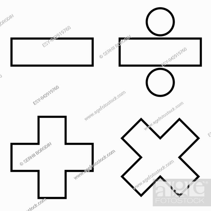 Stock Vector: Math signs icon black color vector illustration flat style simple image.