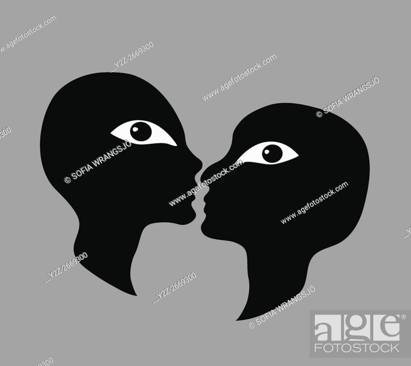 Stock Photo: A couple about to kiss, looking at the viewer.