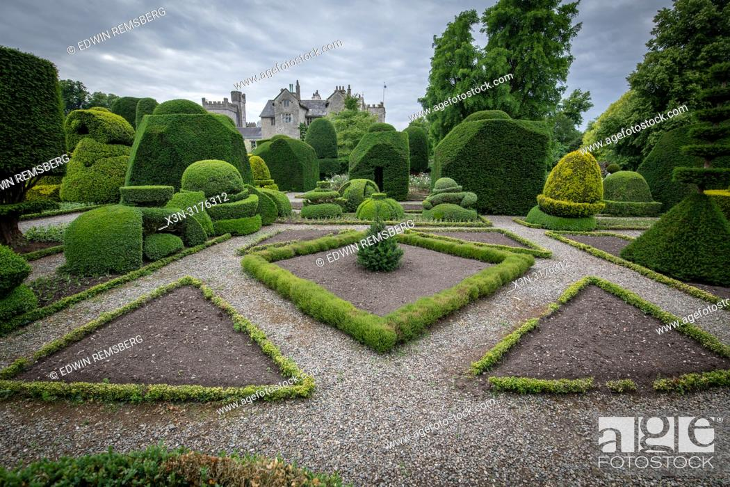 Stock Photo: Geometric Hedges and paths, Levens Hall , Kendal, Cumbria , UK.