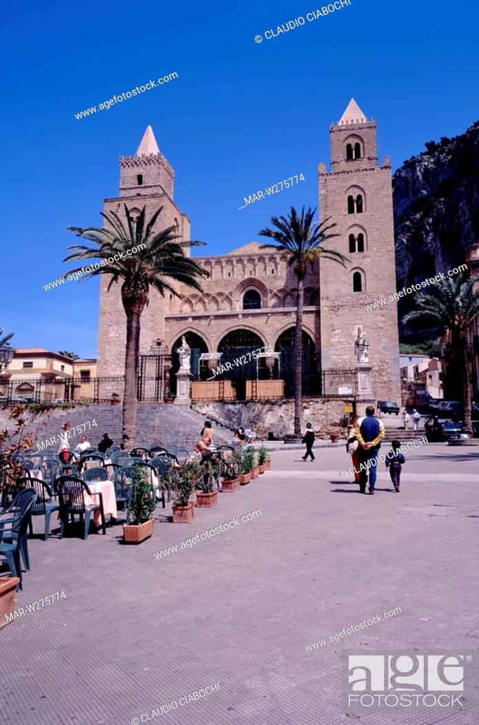 Stock Photo: europe, italy, sicily, cafalù, cathedral.