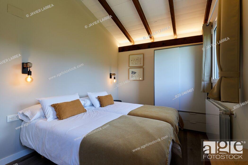 Stock Photo: Bedroom, Apartment in rural house, Deba, Gipuzkoa, Basque Country, Spain, Europe.