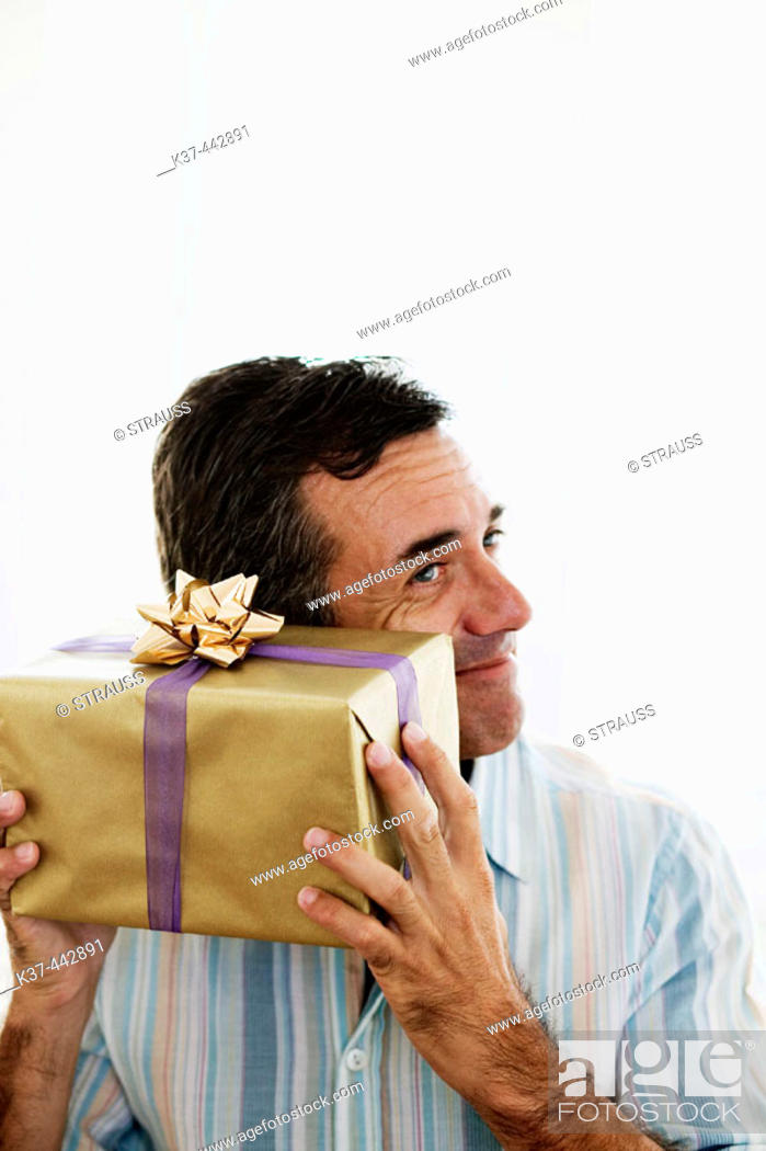 Stock Photo 40 45 Year Old Caucasian Man With Gift Box