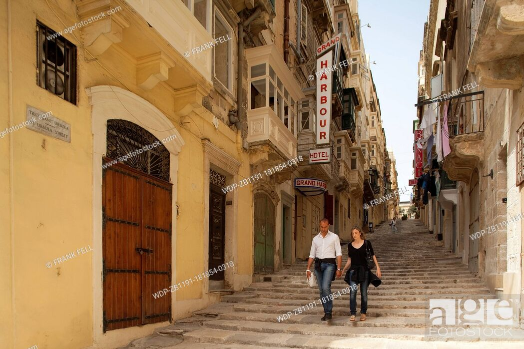 Imagen: Maltese Islands, Malta, Valletta, St Ursula Street, The Street of Steps.