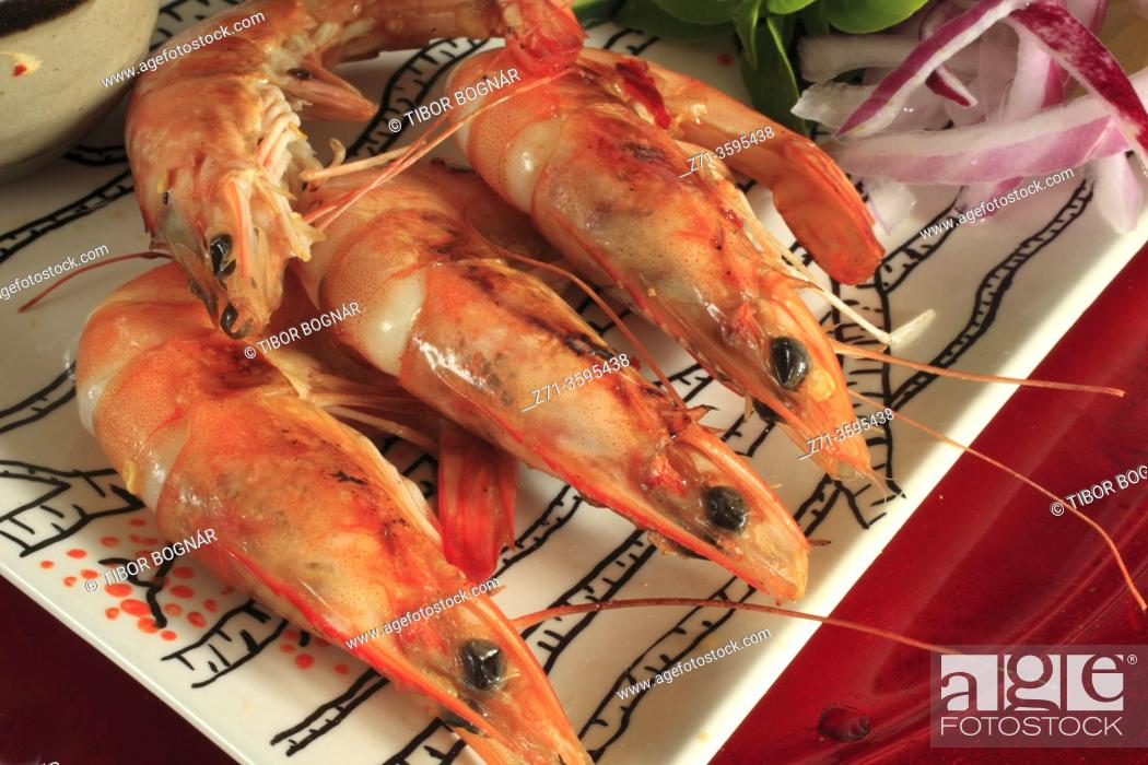 Stock Photo: Grilled prawns, .