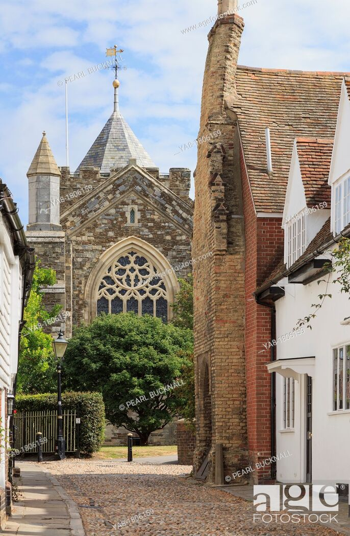 Stock Photo: West Street, Rye, East Sussex, England, UK, Britain, Europe  View along narrow cobbled street to St Mary's parish church in the historic town.