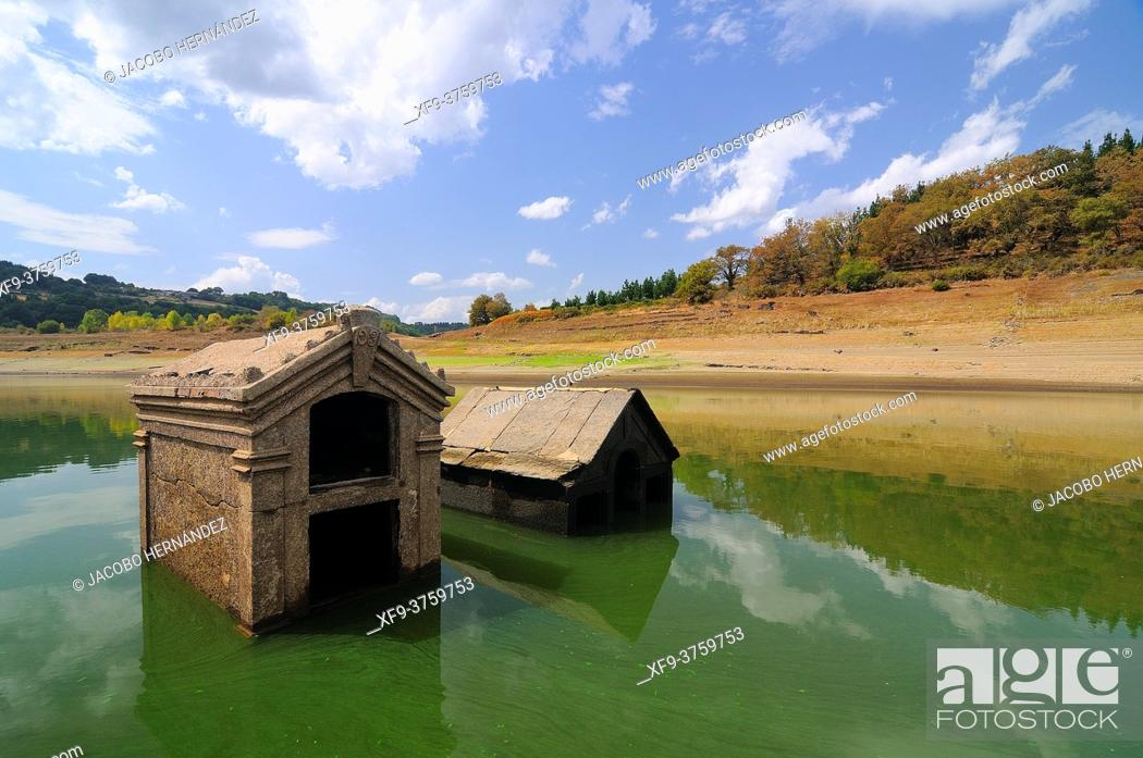 Stock Photo: Old cemetery of Portomarín flooded by the Belesar reservoir on the Miño river. Lugo province. Galicia. Spain.