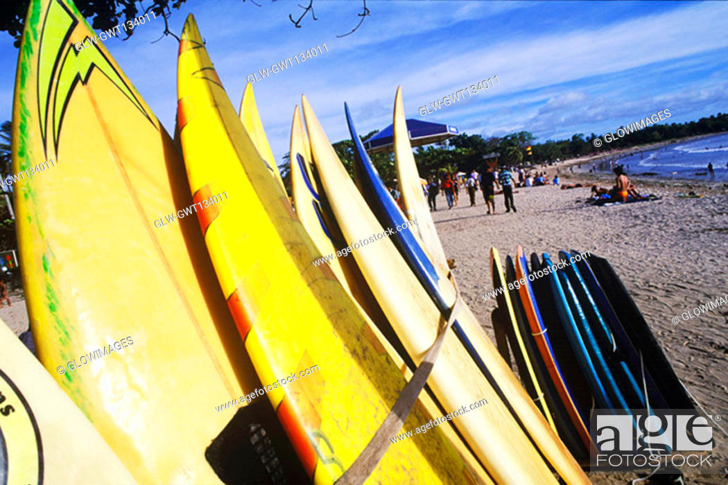 Stock Photo: Close-up of surfboards on the beach, Bali, Indonesia.