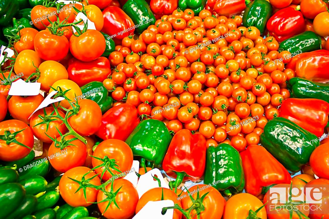 Stock Photo: Bio vegetables - tomatoes, cucumber and pepper  Healthy food.