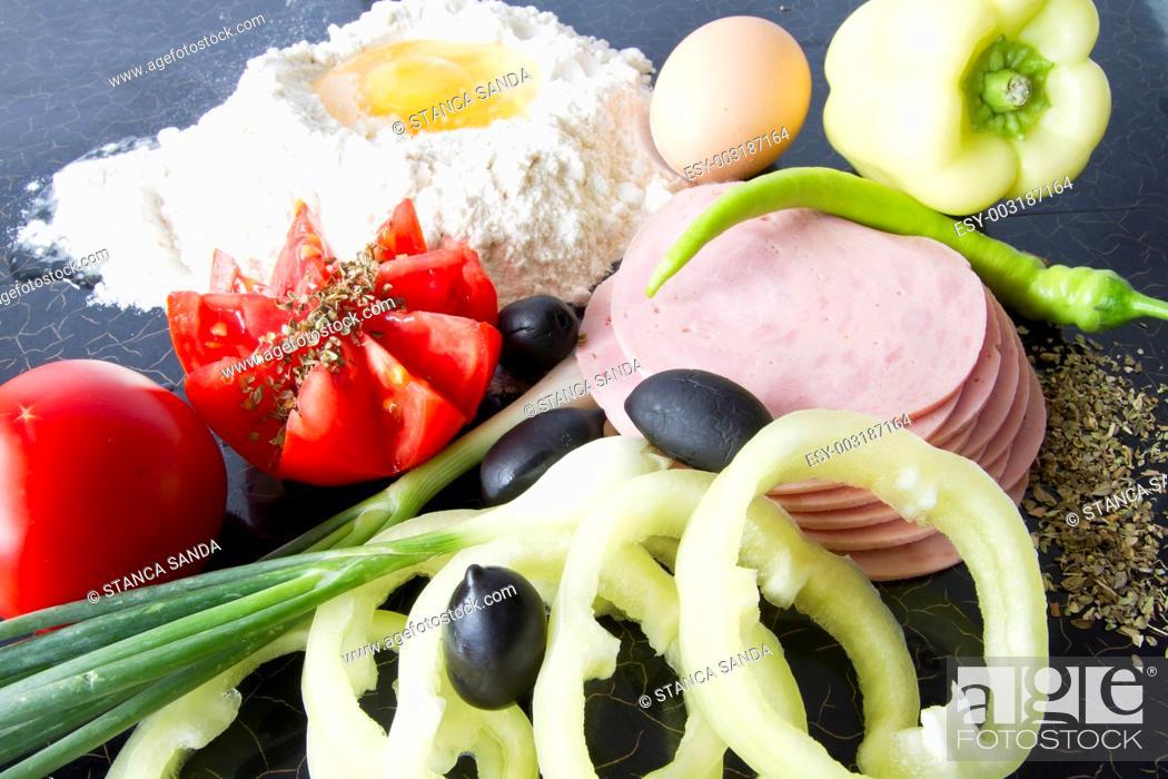 Stock Photo: Pizza ingredients.