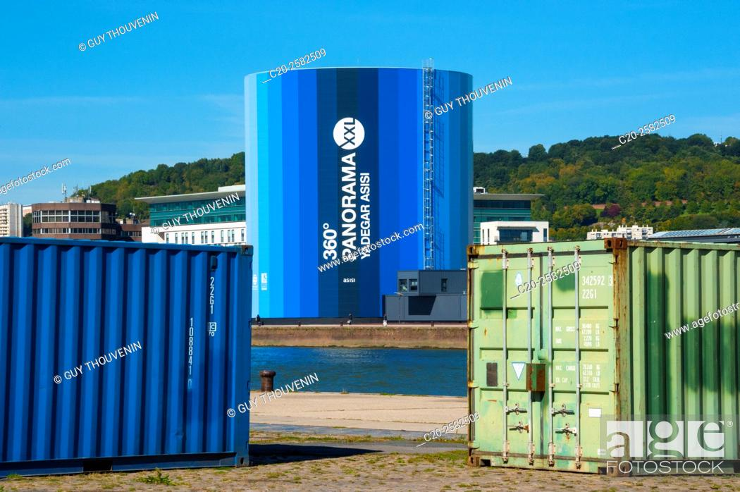 Stock Photo: Group of containers on quai along the river Seine, and XXL Panorama building in the background, Rouen, Normandy, France.