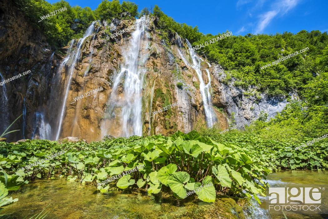 Stock Photo: Sastavci Waterfall. Plitvice Lakes National Park. Lika Plješivica mountain range . The park falls within two counties Lika-Senj and Karlovac.