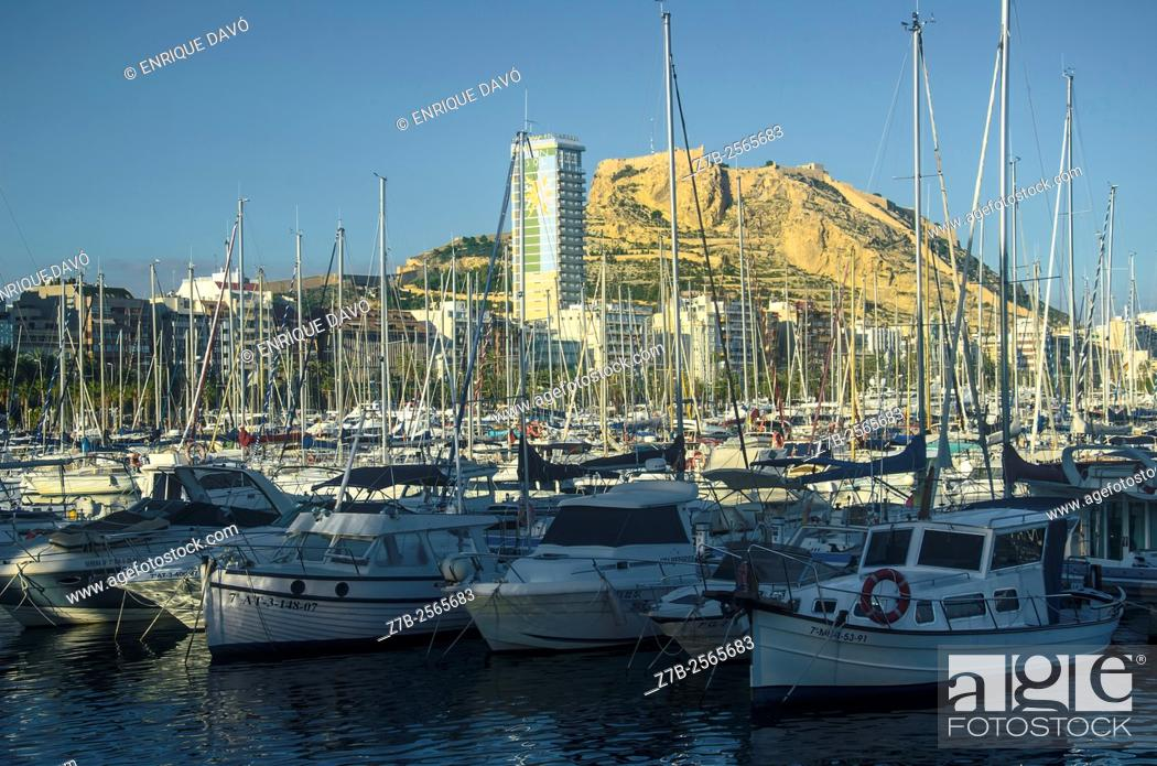 Stock Photo: A white boats view in the maritime port of Alicante, Spain.
