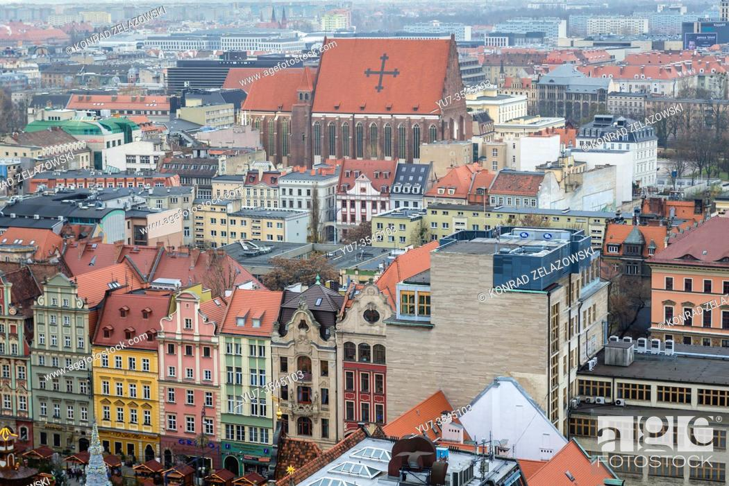 Stock Photo: Aerial view from Garrison Church in Old Town of Wroclaw, Poland - view with Church of Saints Dorothea, Wenceslaus, and Stanislaus.
